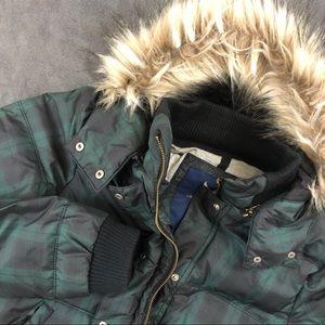 ⬇️49 American Eagle Plaid Down Jacket Fur Hood Lg